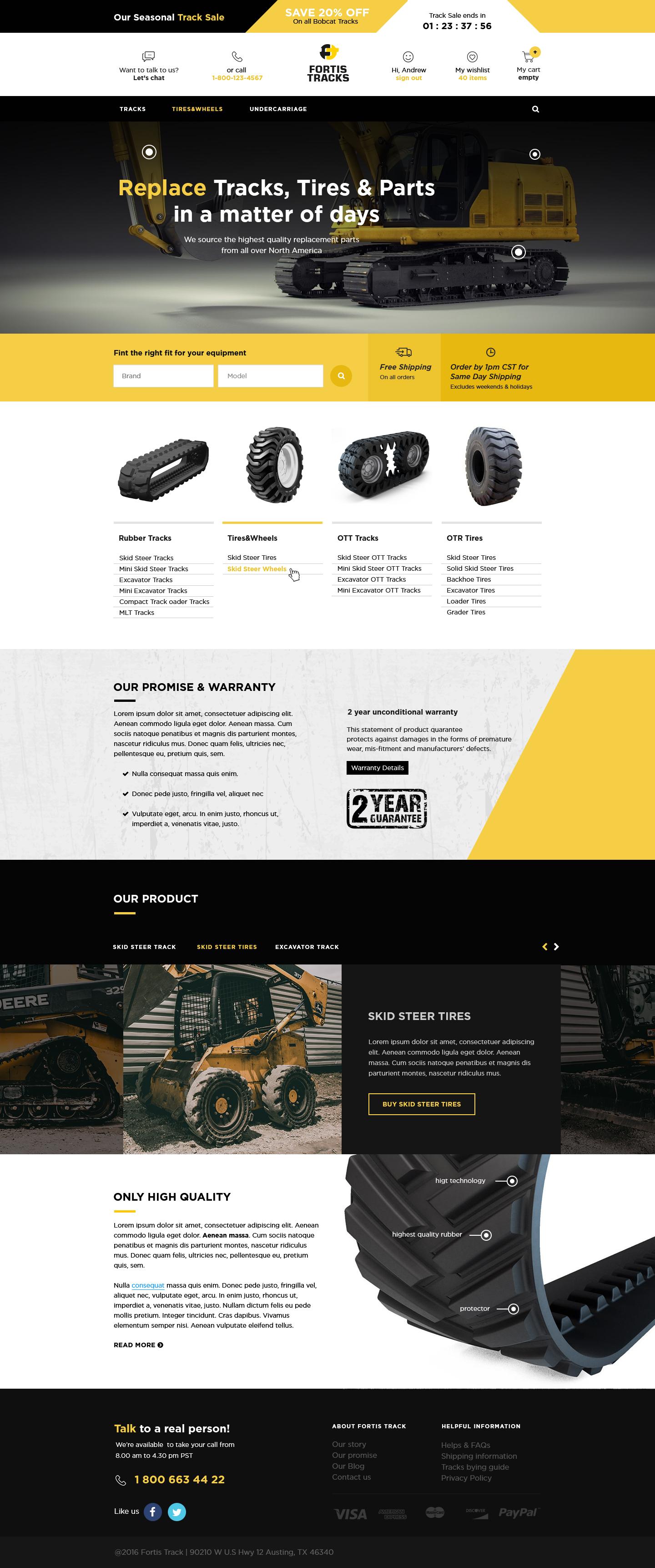 Сайт под ключ Fortis Tracks – поставки запчастей и шин для спецтехники