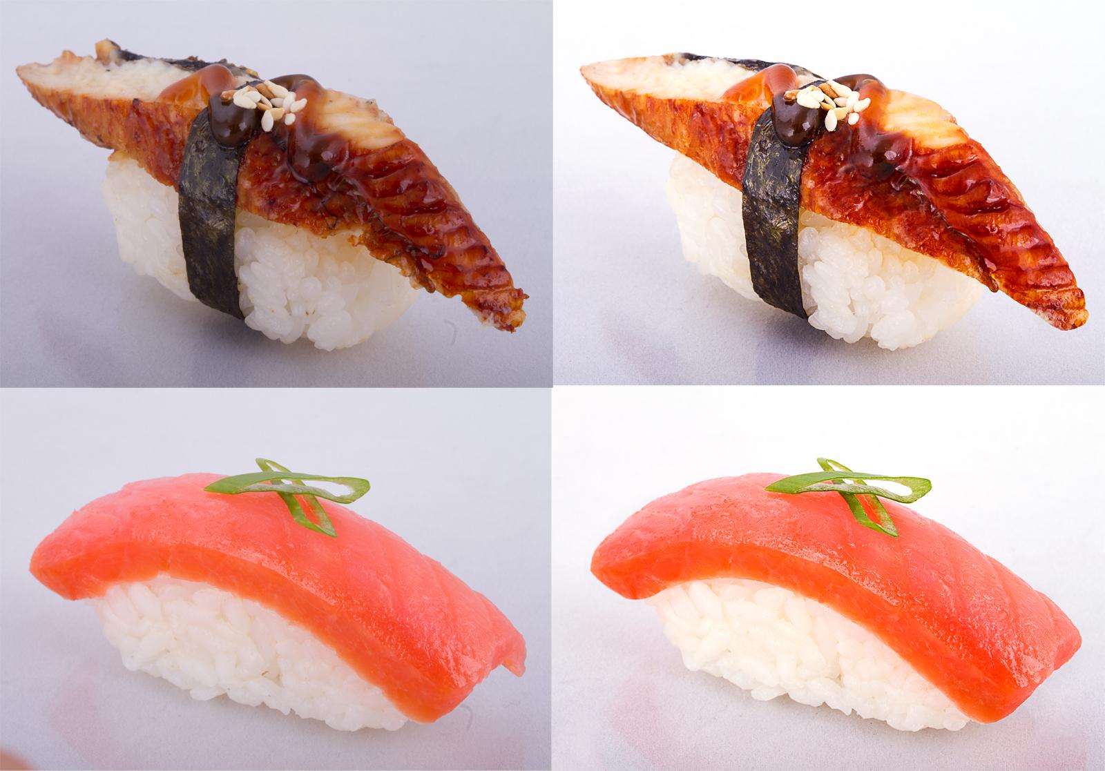 Обработка фото блюд японской кухни (суши, роллы)