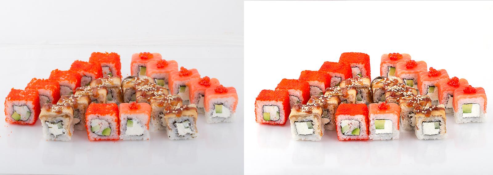 Обработка фото блюд японской кухни (суши, роллы, сеты)