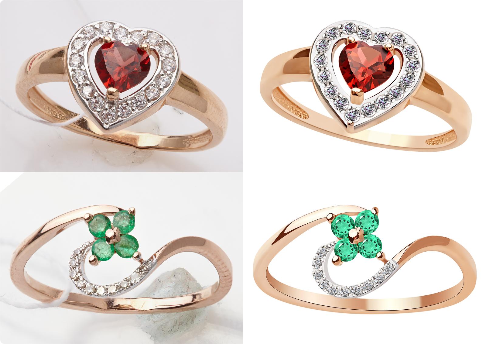 Обработка ювелирных украшений, кольца, набор