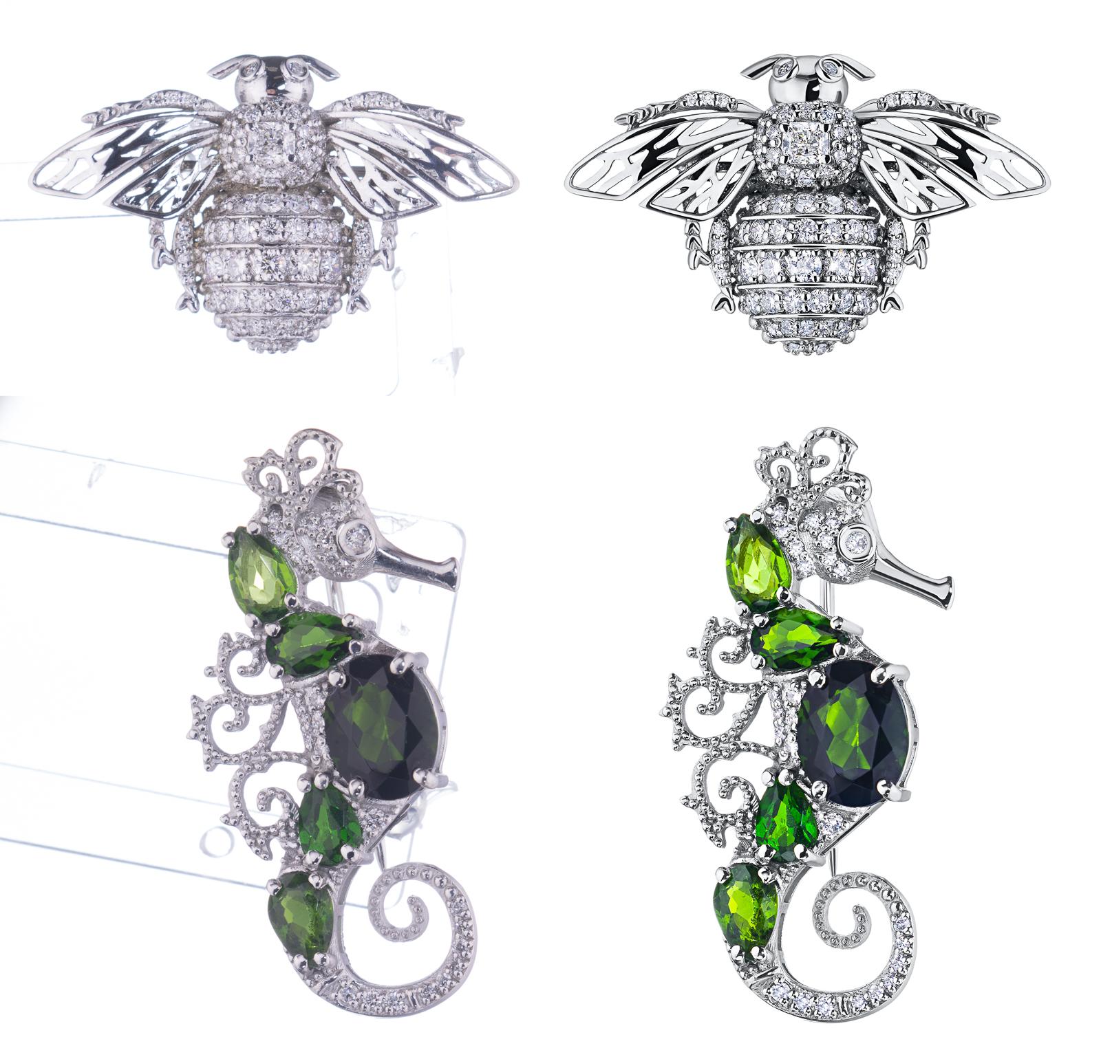 Обработка ювелирных украшений, серьги, броши