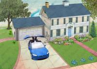 Tesla Solar Roof. Tesla charging. Blue Model X.
