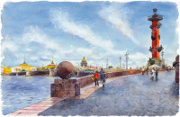 Вид на Ростральную колонну и Дворцовый мост.