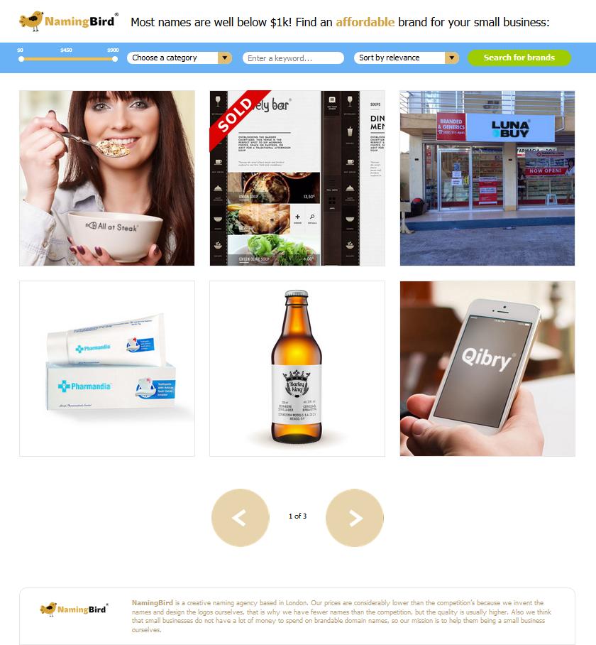 Сайт брендингового агентства Namingbird