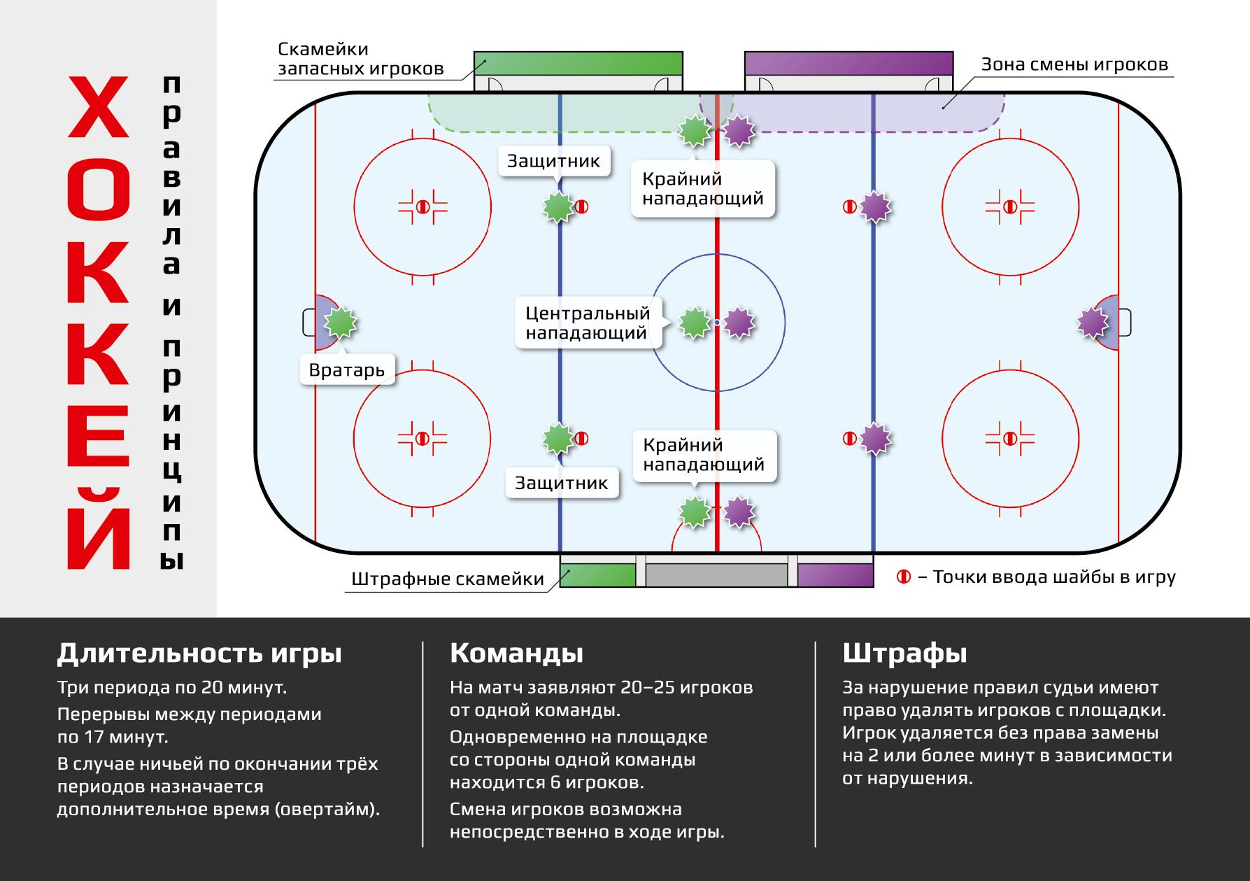 Дизайн информационной листовки с принципами игры в хоккей.