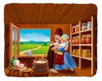 Иллюстрация - Манчо и Румка - молоко