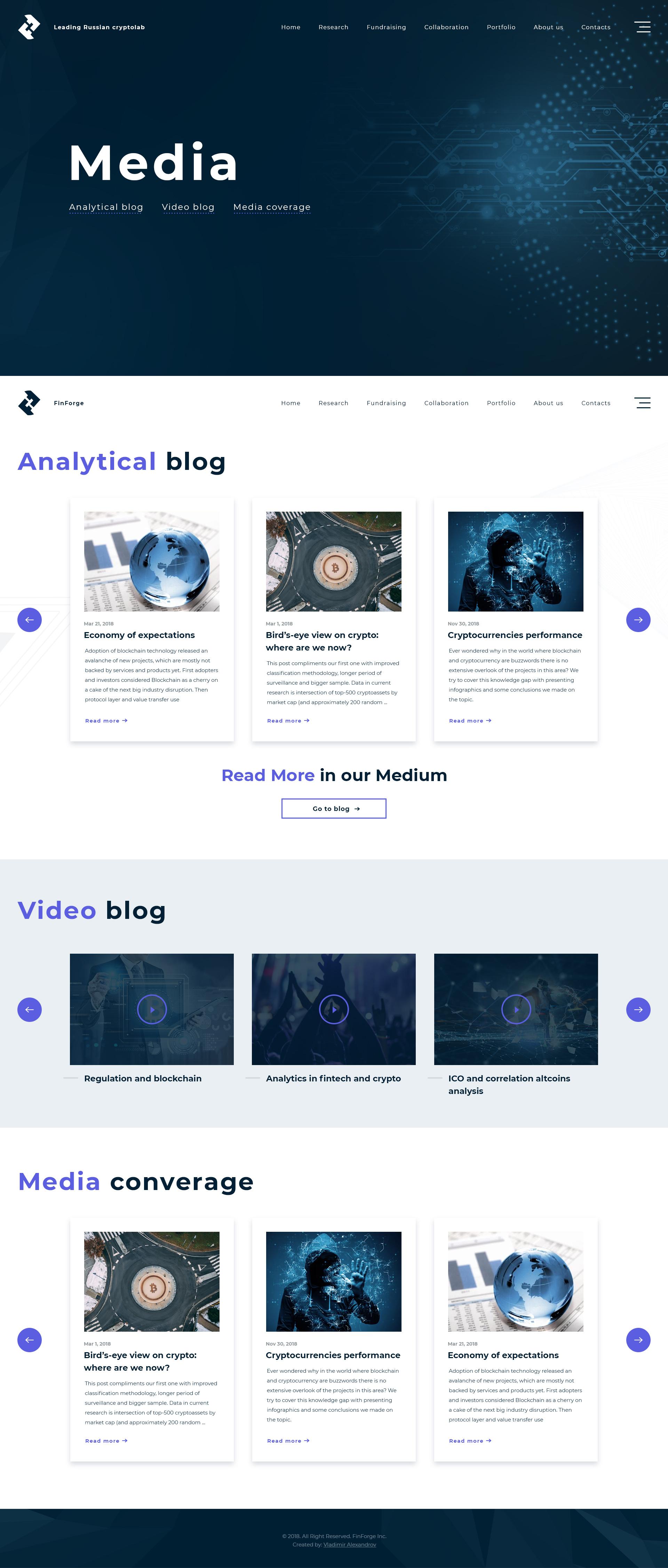 Дизайн для сайта-визитка крипто лаборатории FinForge