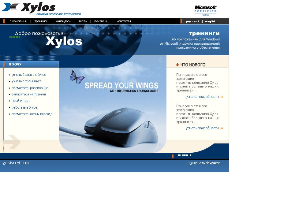 До 2006 года. Дизайн сайта компании Xylos