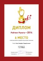 6 место - Рейтинг разработчиков интернет-магазинов / Северо-западный регион / Средний сегмент