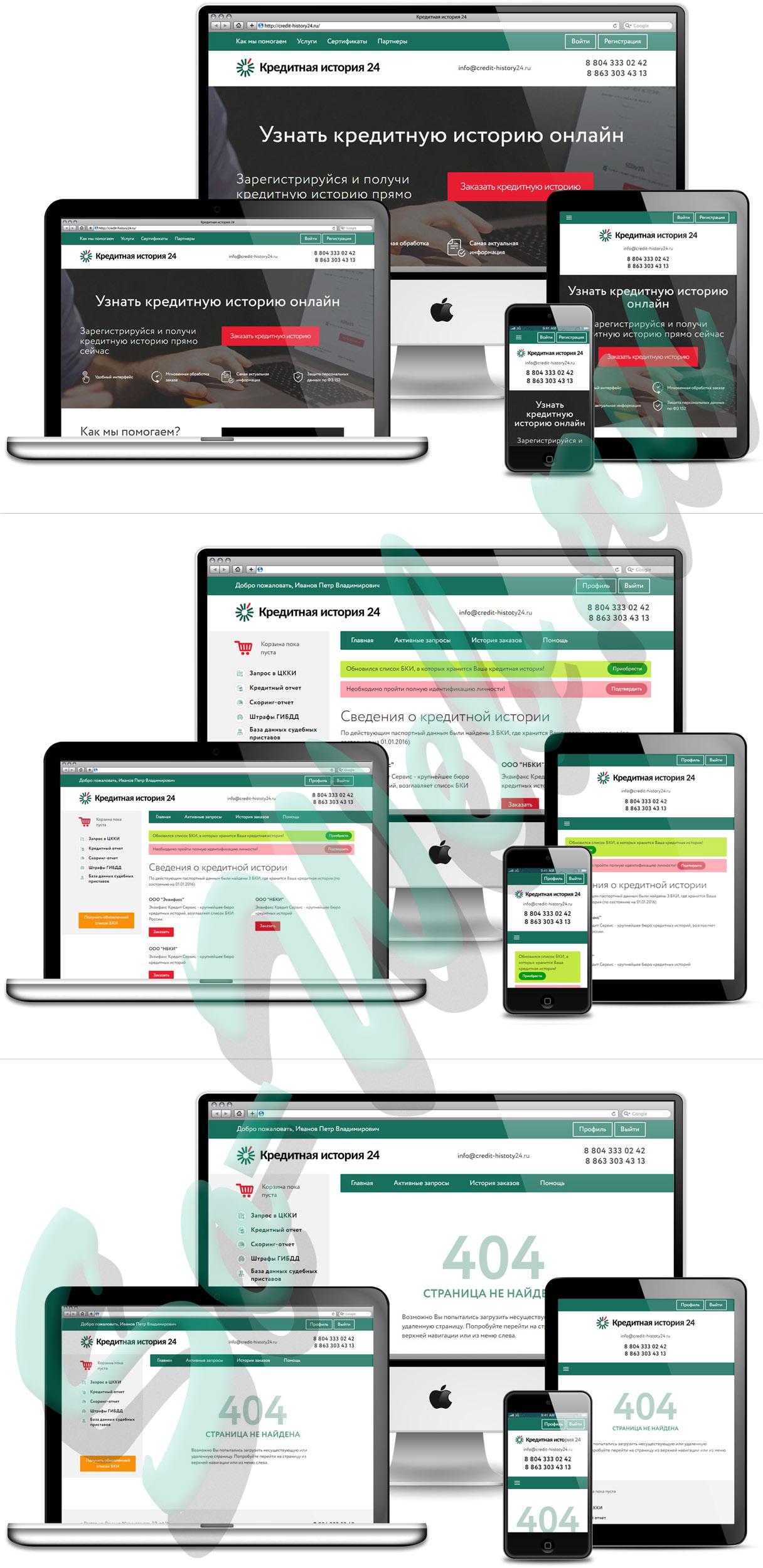 Адаптивная верстка из JPG в HTML с элементами Bootstrap для сайта Кредитной истории