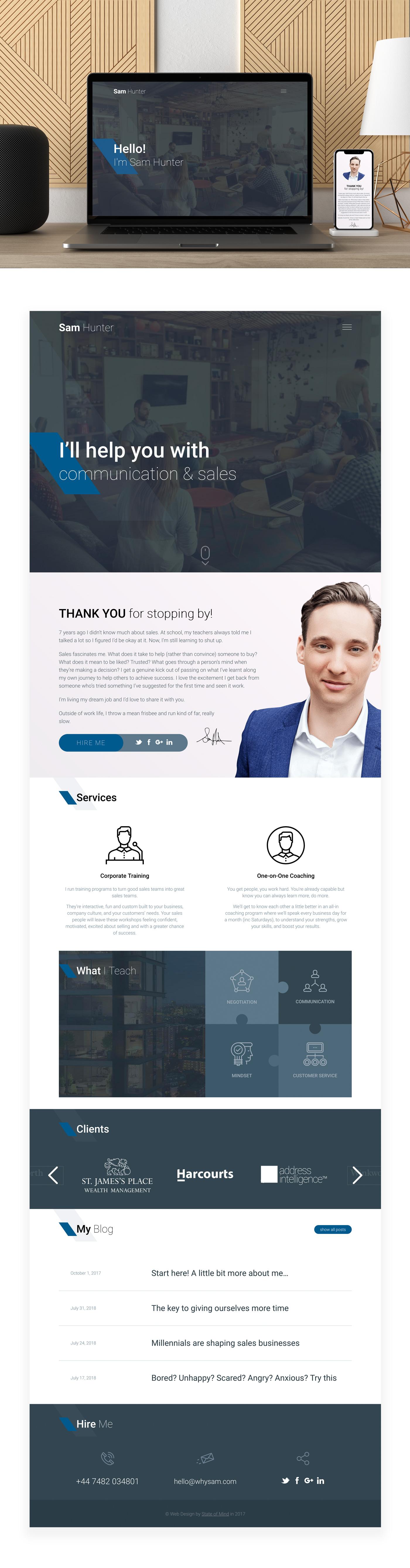 Персональный сайт для Сэма