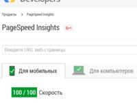 Увеличение параметров (скорости загрузки) developers google pagespeed insights