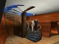 лестница в зону ресторана и переговорные