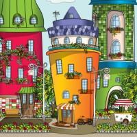 """Иллюстрация """"Город счастья"""" на основании идеи Седовой Ольги."""