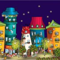 """Иллюстрация """"Город счастья"""" на основании идеи Седовой Ольги. Ночь."""