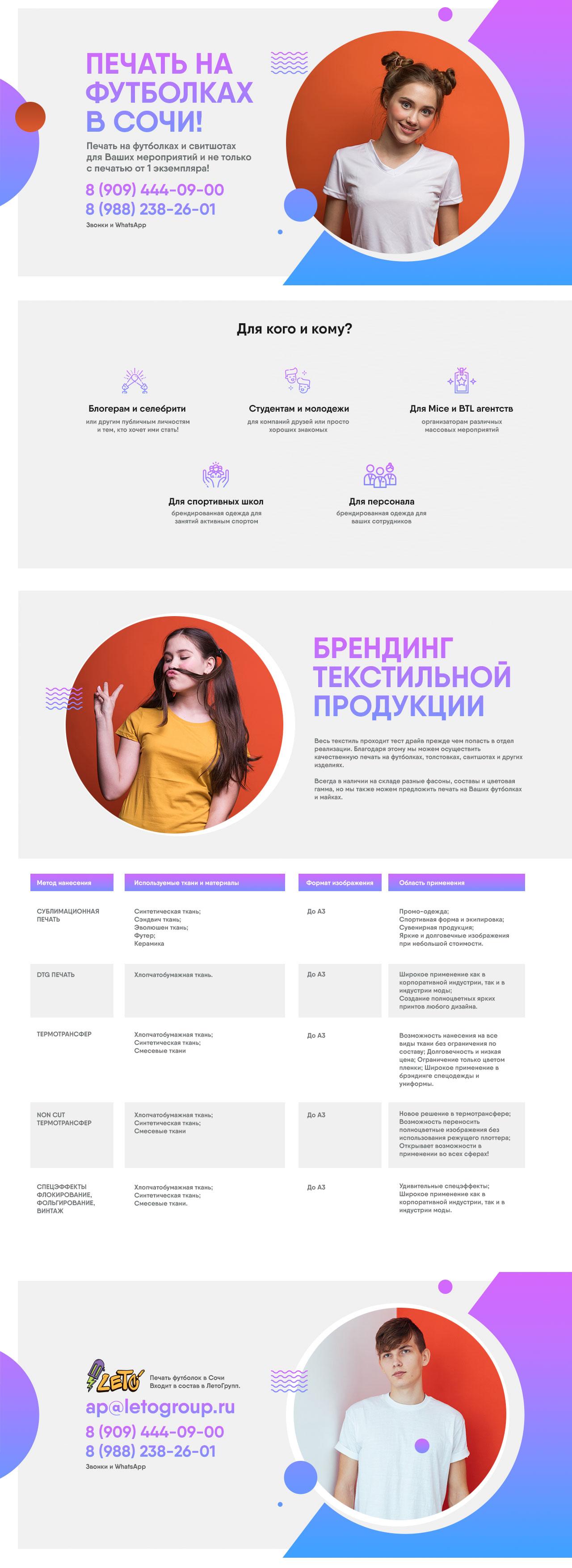 Дизайн сайта печати на майках