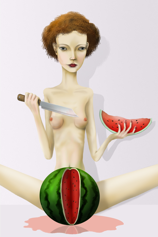 Девушка с арбузом