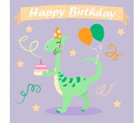 Открытка к дню рождения с динозавром