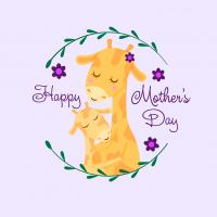 Открытка к дню матери с жирафами