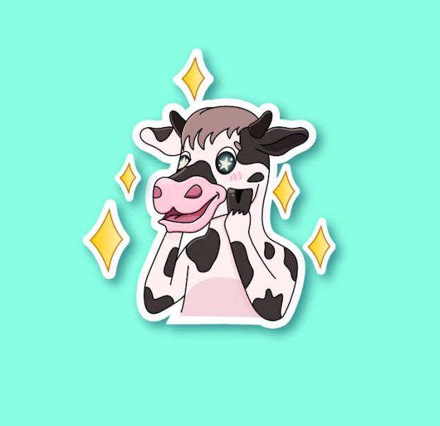 Два стикера с коровкой