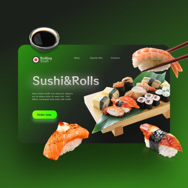Концепт первого экрана Rolling sush