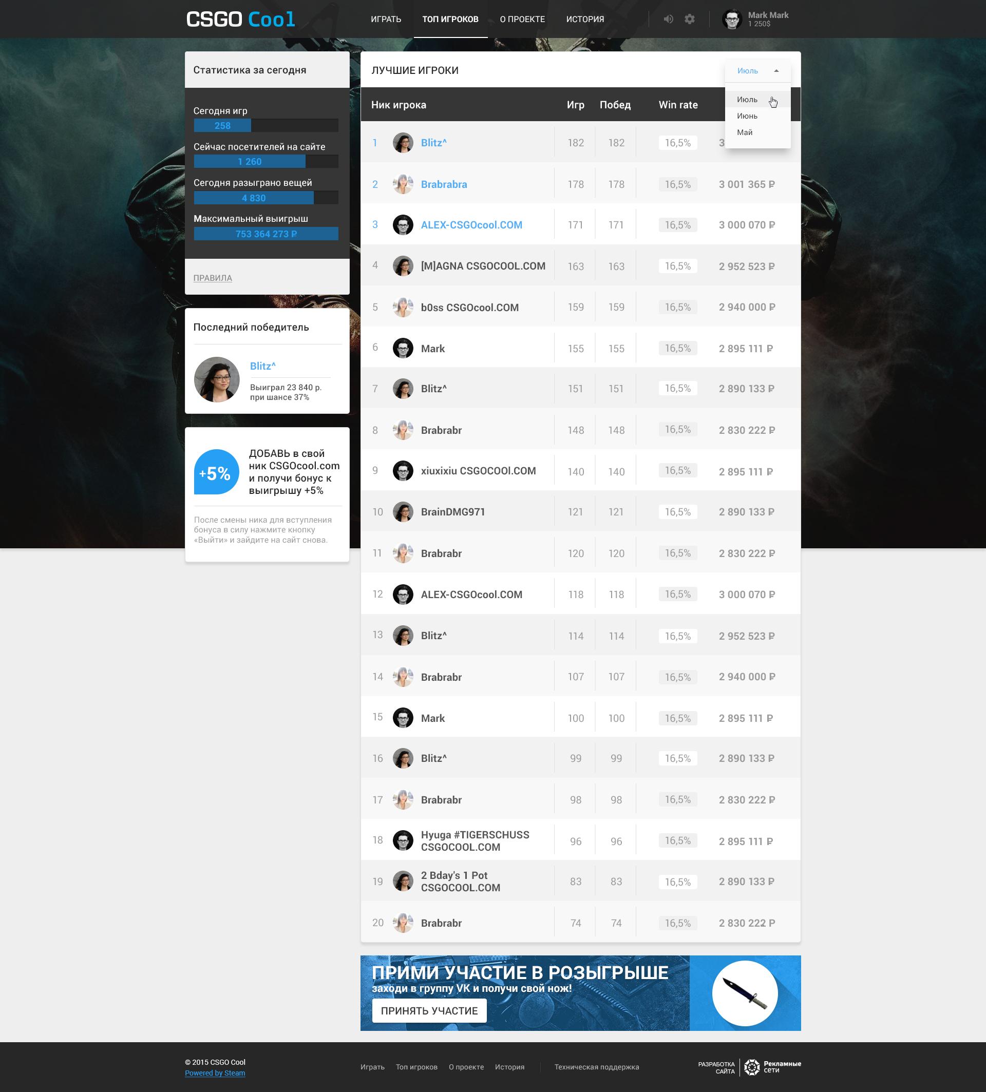 Сайт Csgocool.com (Laravel, Node.js, Vue.js)