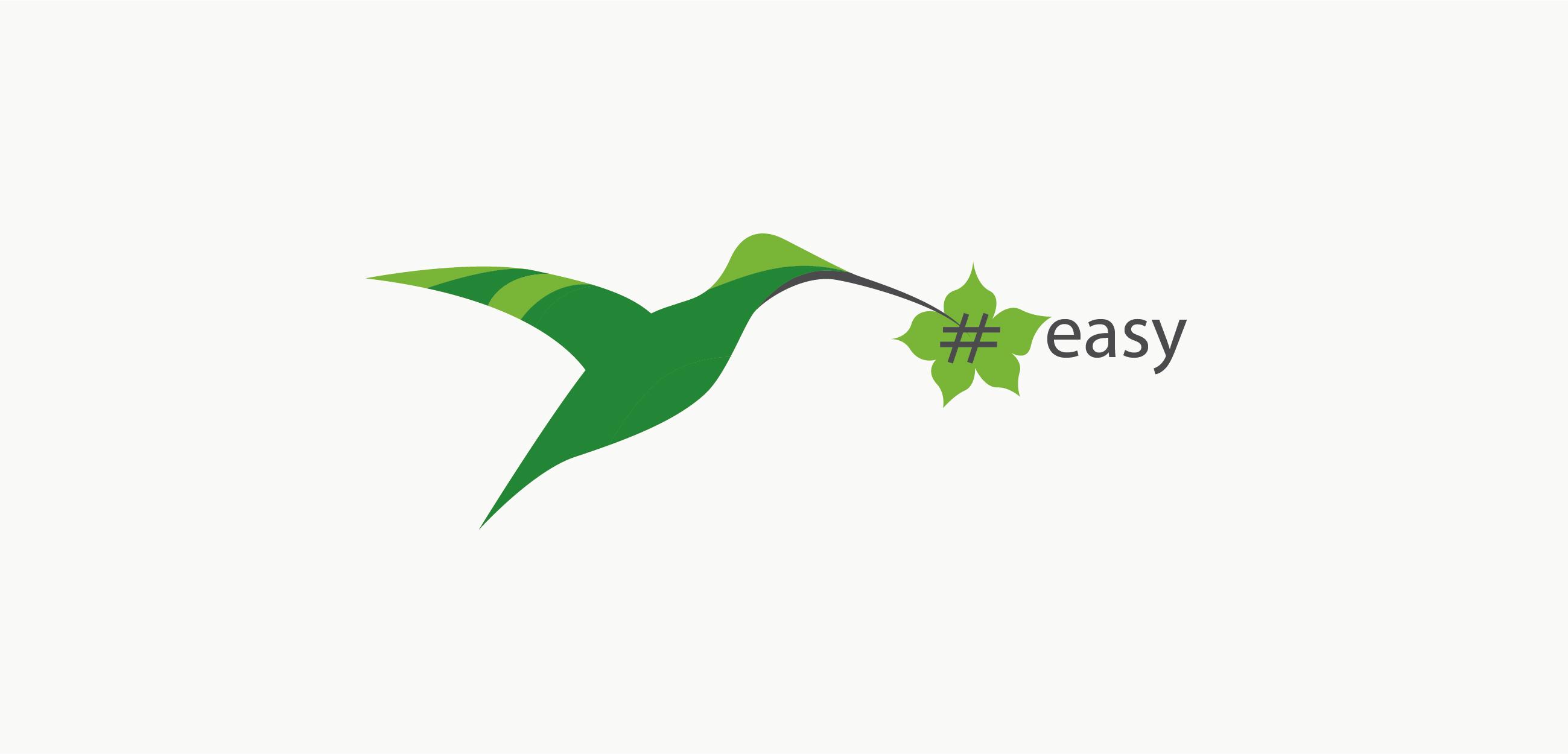 Разработка логотипа в виде хэштега #easy с зеленой колибри  фото f_7965d4f0e7045904.jpg