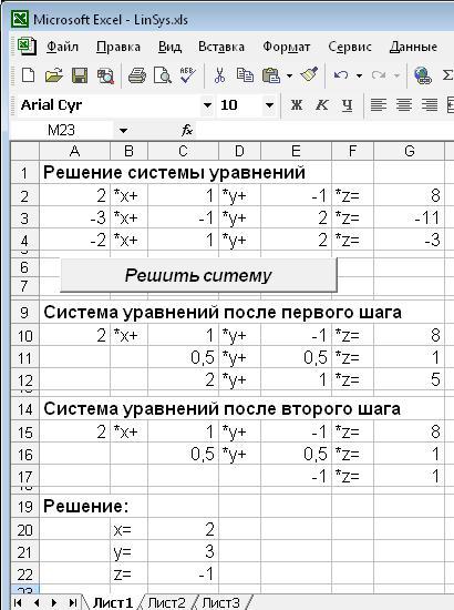 Решение вычислительных задач в Excel