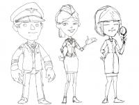 Эскизы персонажей для игры Full Flow