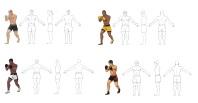 Бойцы в разных позах для 2-й версии игры Тайский бокс