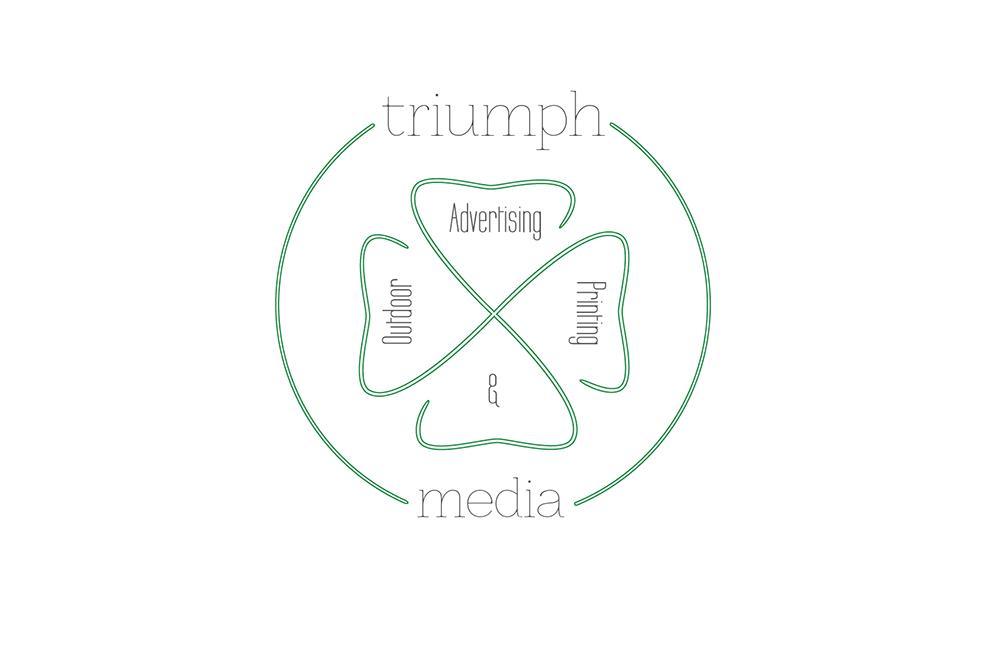Разработка логотипа  TRIUMPH MEDIA с изображением клевера фото f_5074556d5a276.jpg