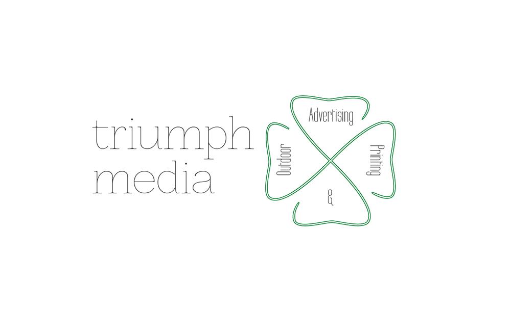 Разработка логотипа  TRIUMPH MEDIA с изображением клевера фото f_50745571084d3.jpg