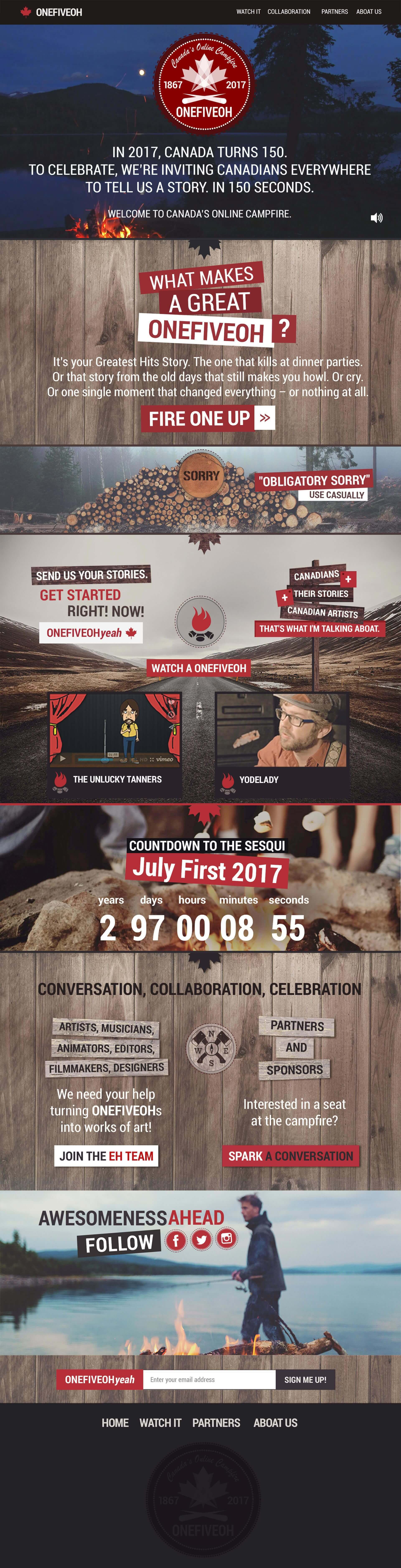 ONEFIVEOH - Canada's Online Campfire (Адаптивная верстка. Landing)