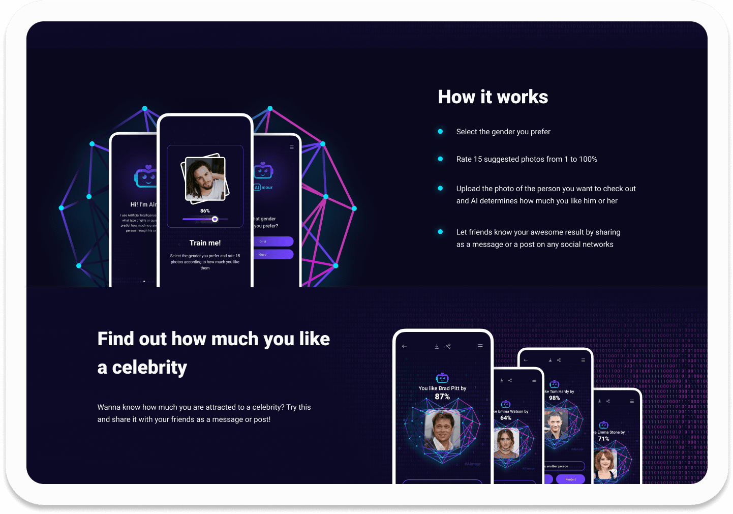 """Лендинг для приложения с искусственным интеллектом """"AImour"""" - https://aimour.net/"""