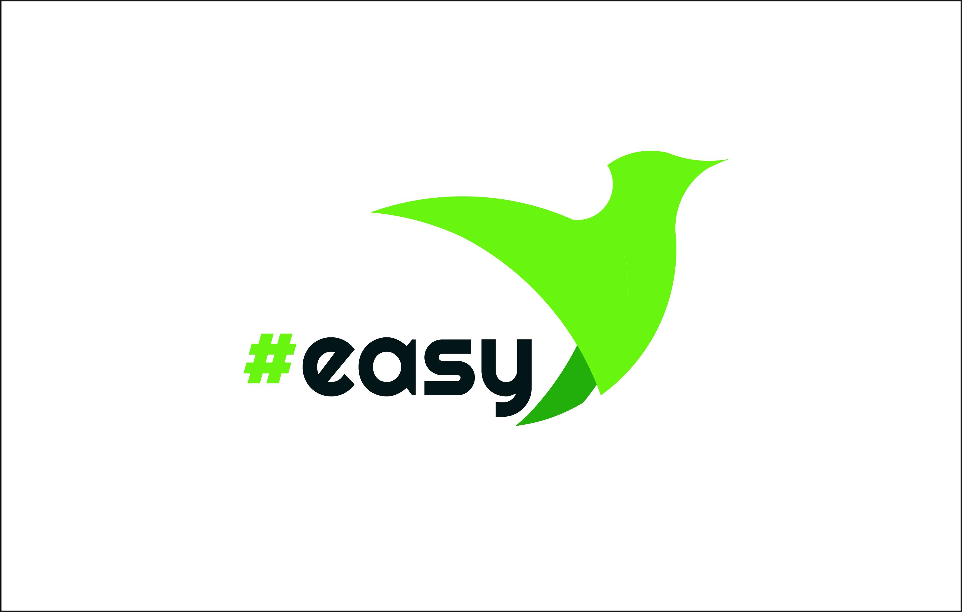 Разработка логотипа в виде хэштега #easy с зеленой колибри  фото f_4605d4f548377505.jpg