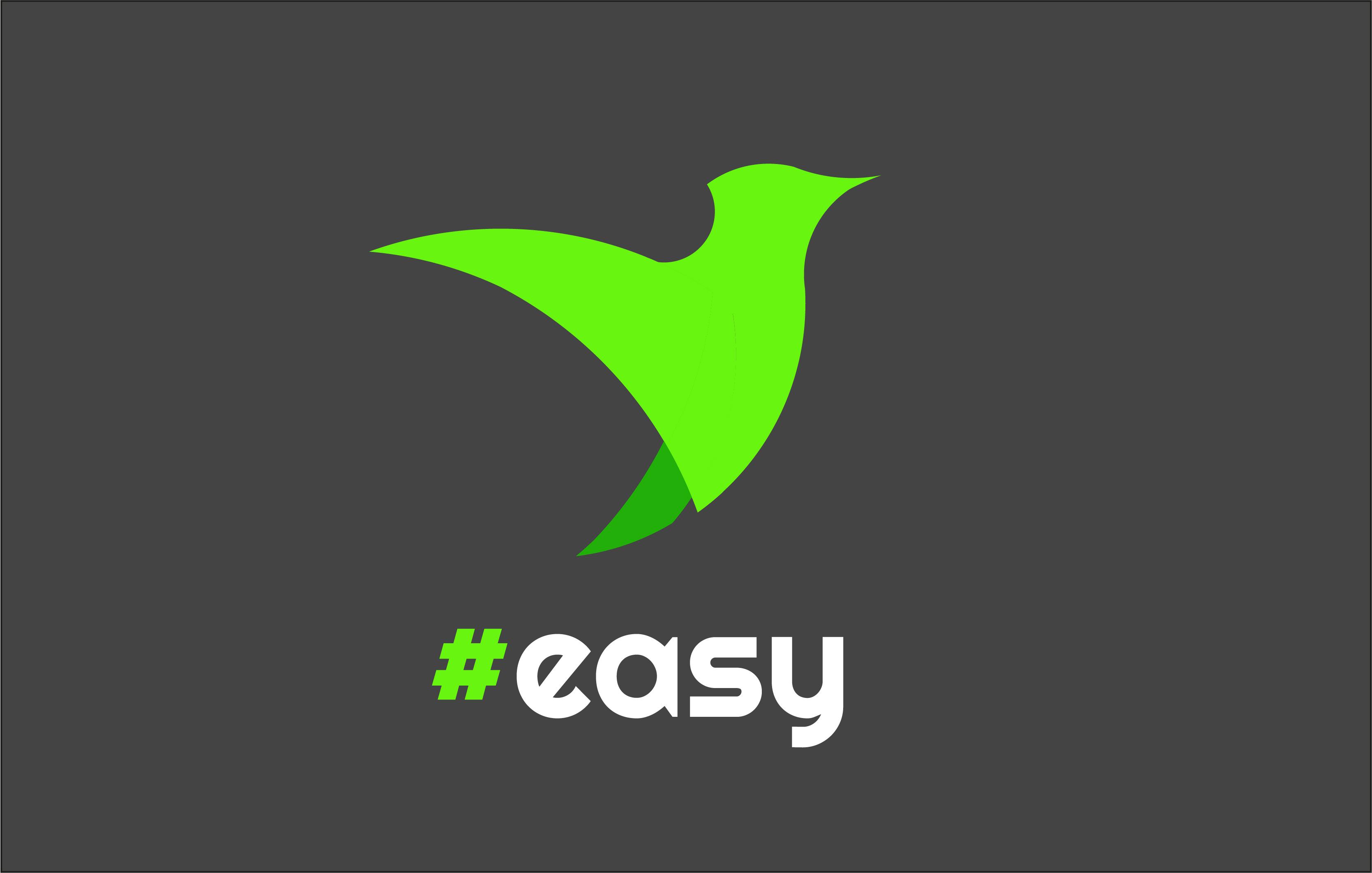 Разработка логотипа в виде хэштега #easy с зеленой колибри  фото f_7315d4f4b8c92813.jpg