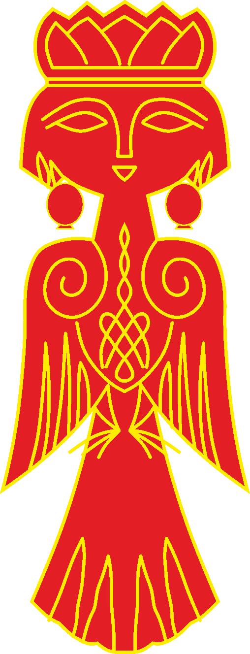 Птица Сирин (отрисовка в векторе)