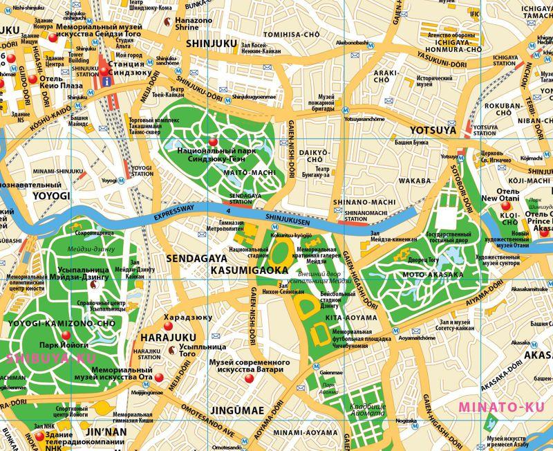 Токио фрагмент карты города