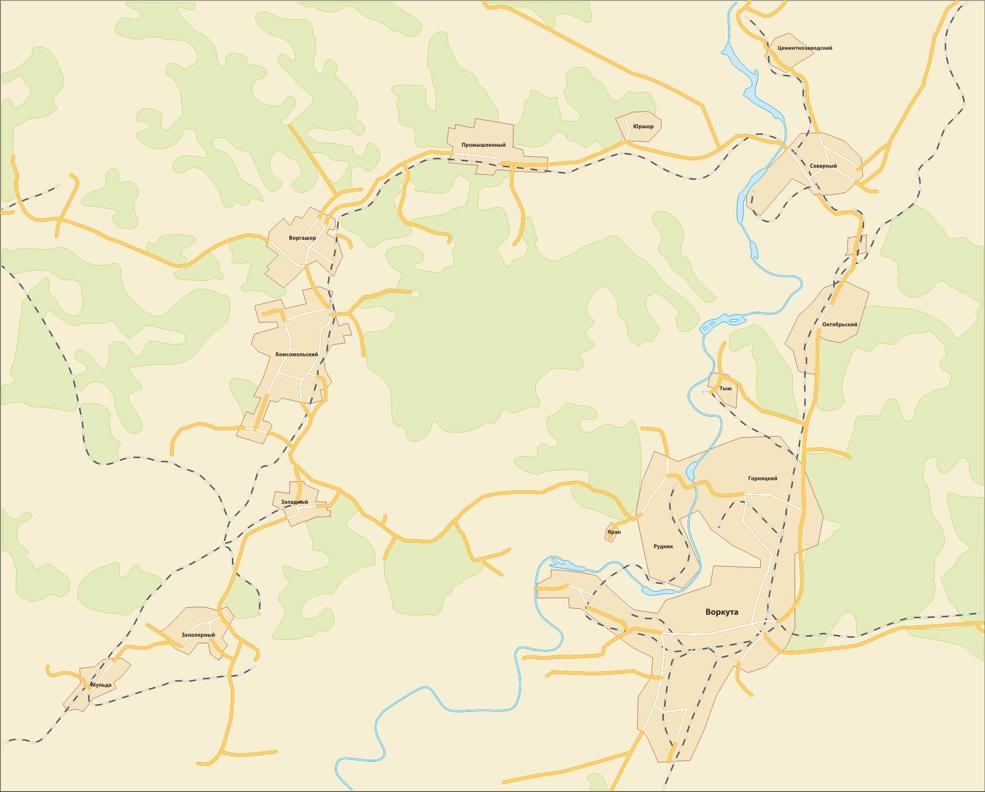 Карта-схема Воркута