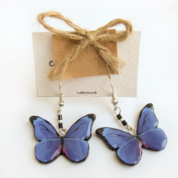 """Серьги """"Бабочки синие"""""""