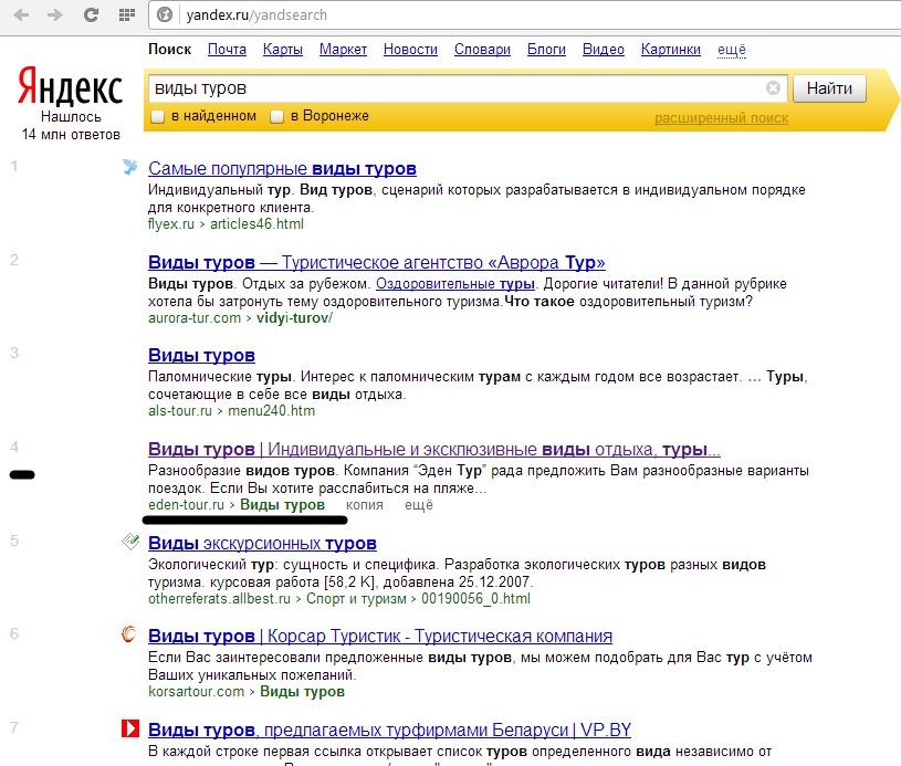 """Яндекс топ 4 """"виды туров"""""""