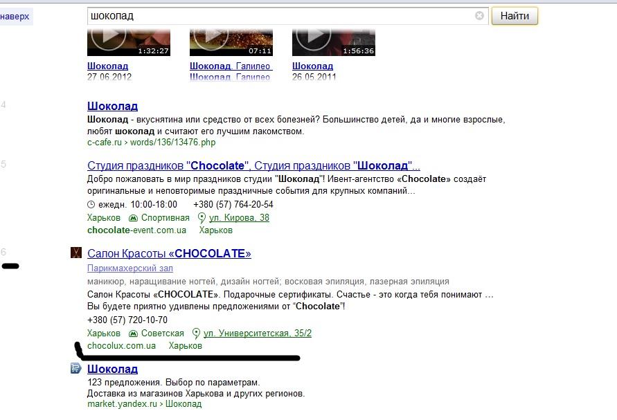 "ТОП 6 Яндекс ""шоколад"""