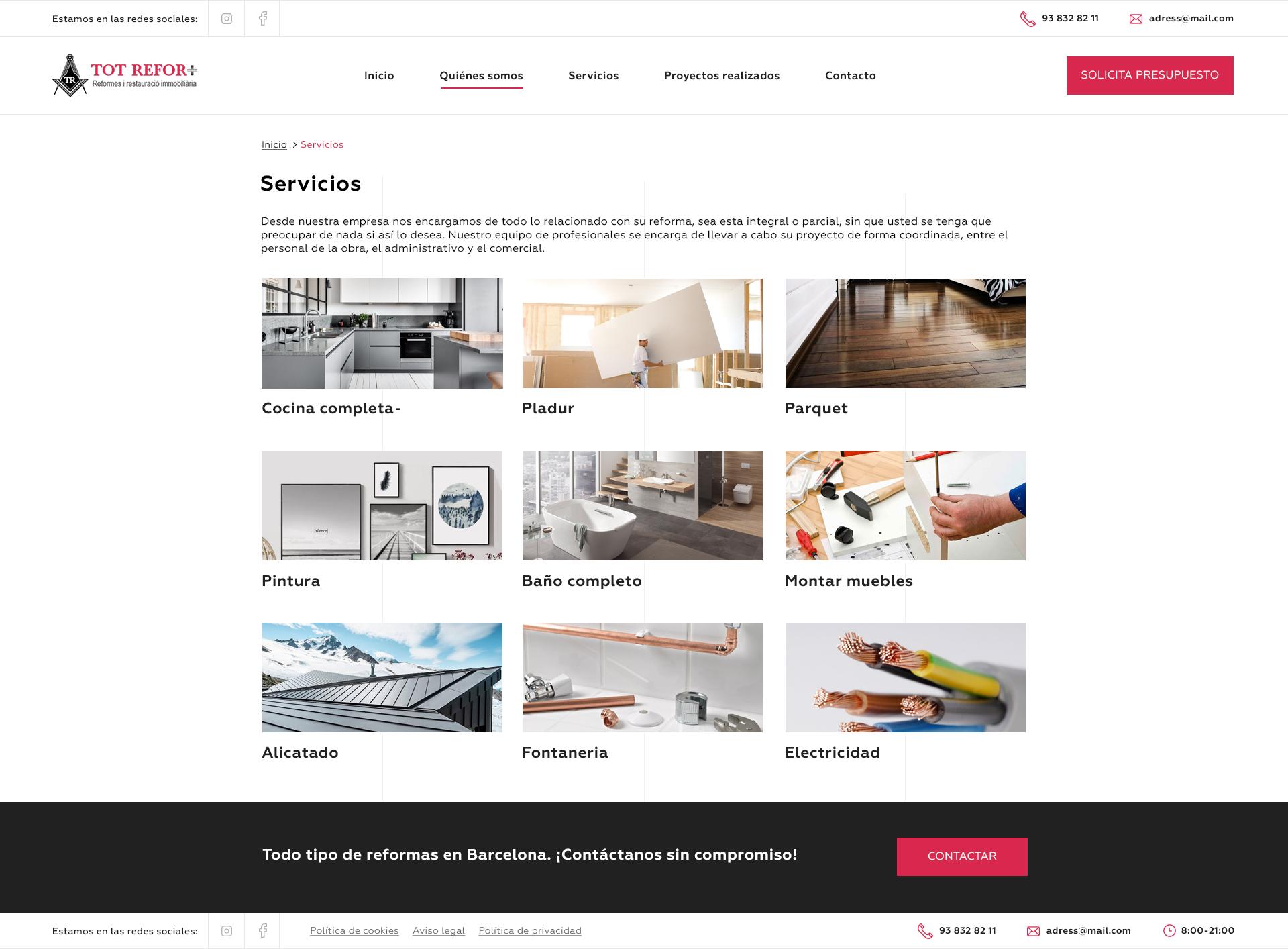 «Tot Refor» - дизайн корпоративного сайта строительной компании