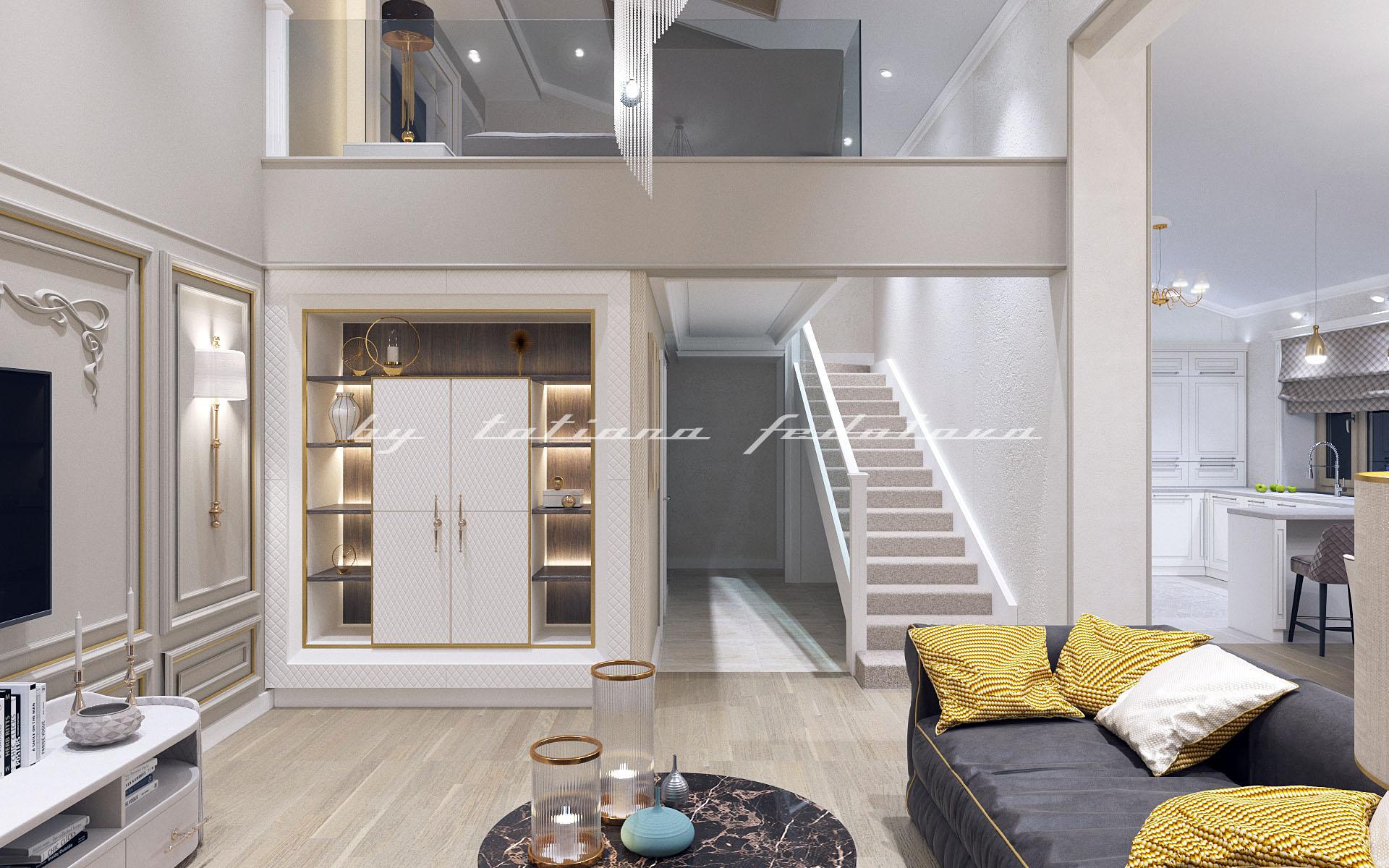 Гостиная-кухня в двухэтажной квартире