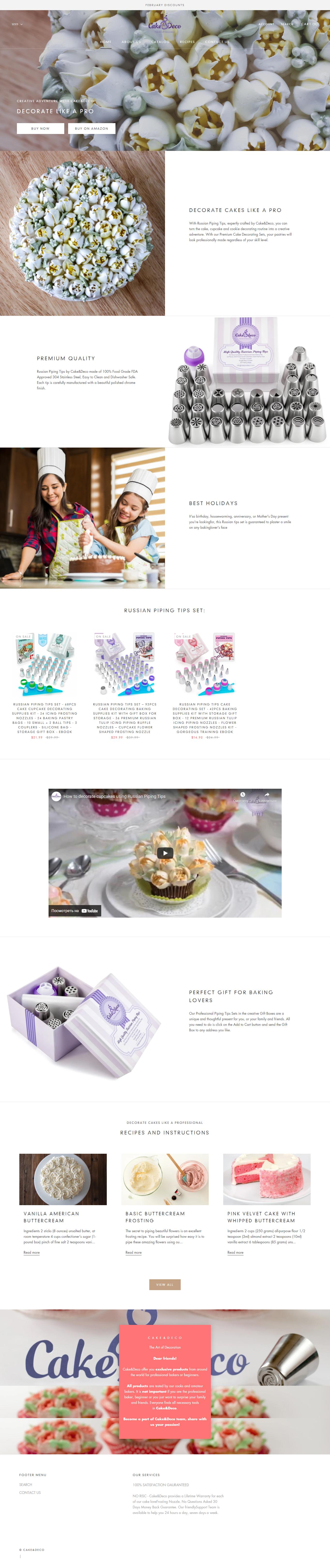 Разработка сайта для Cake&Deco на платформе Shopify