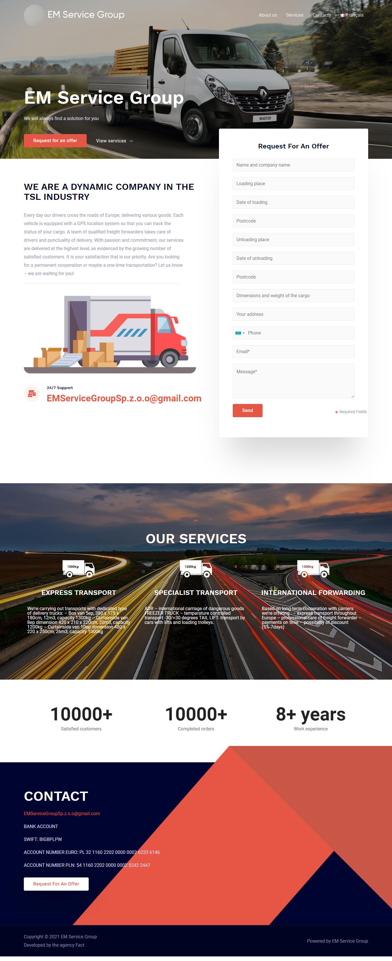 """Разработка сайта для транспортной компании """"EMServiceGroup"""""""