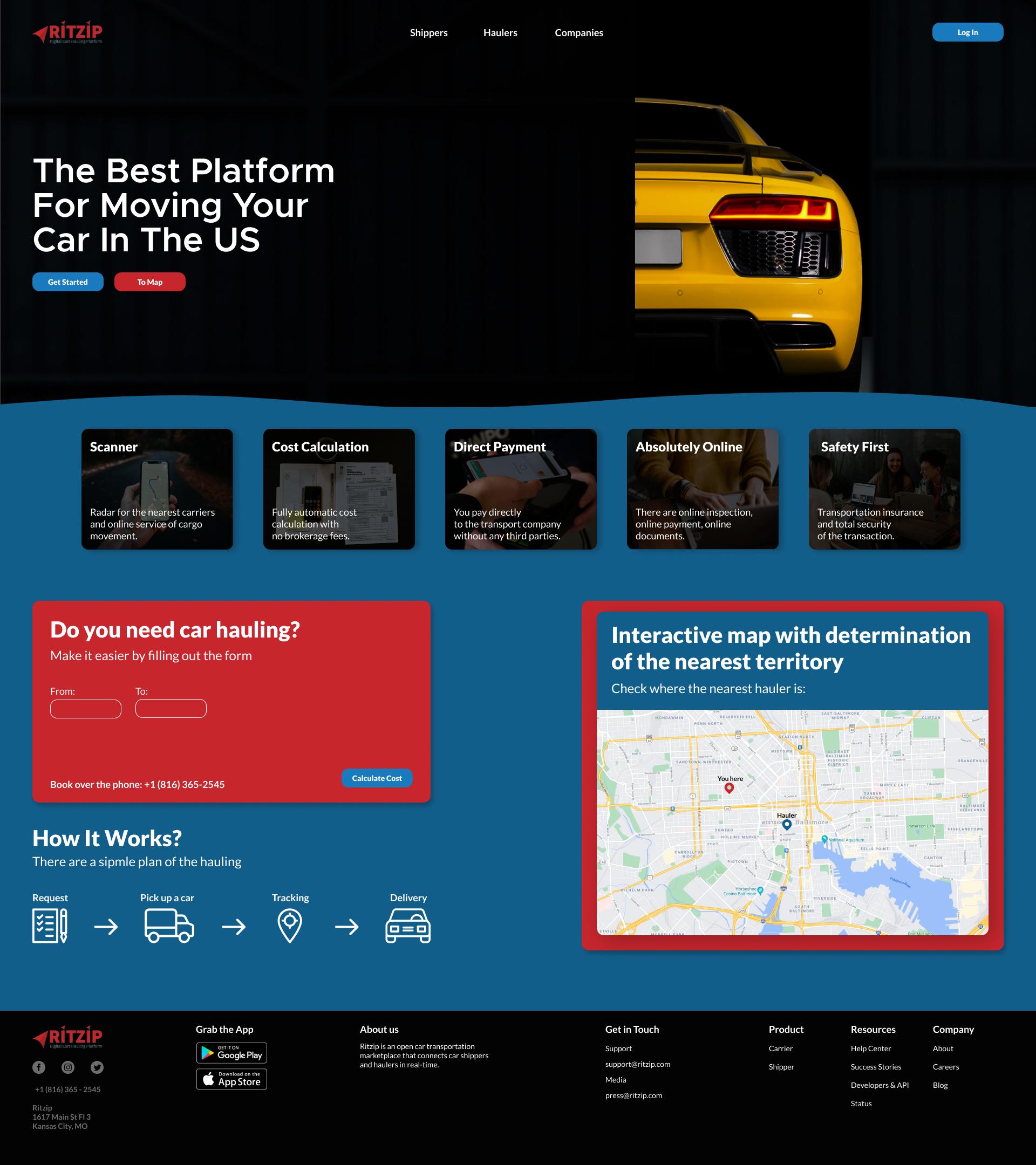 Дизайн сайта - автоперевозка авто в США -car hauling фото f_4466089a66088b43.png