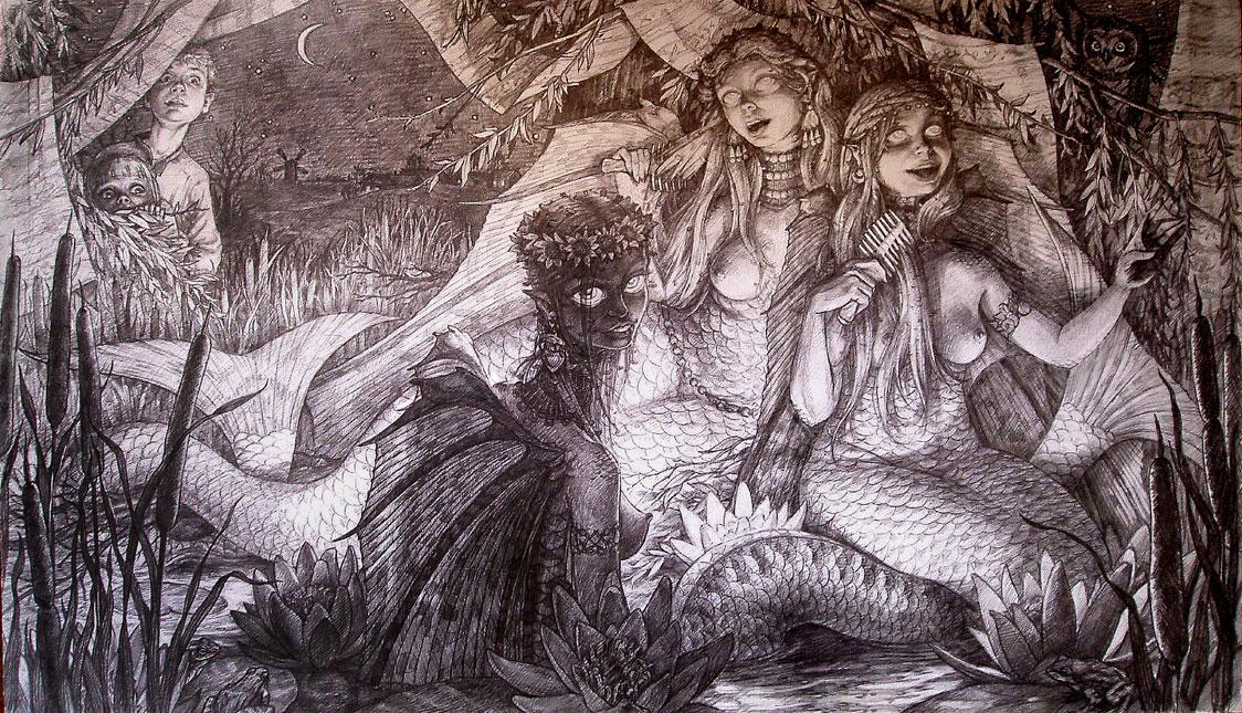 «Там, где русалки поют…». бумага, карандаш. 40х85 см