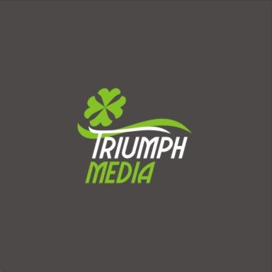 Разработка логотипа  TRIUMPH MEDIA с изображением клевера фото f_507495c5cb5cc.jpg