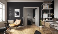 Дизайн гостиной в скандинавском стиле/ 3D Max+Corona